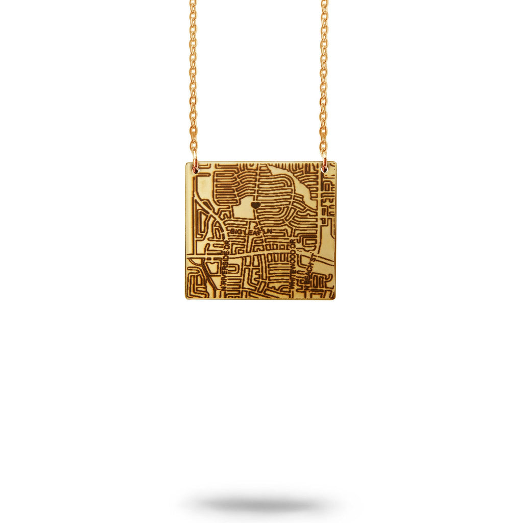 Waterbury, CT City Map Square Necklace in Gold Filled