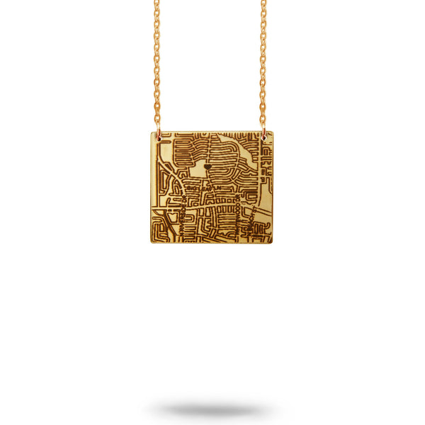 Custom Map Square Necklace in Gold Filled