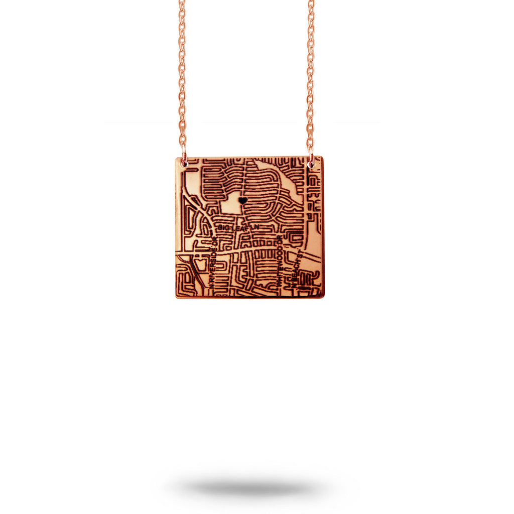 Custom Map Square Necklace in Rose Gold Filled