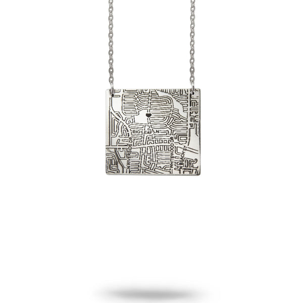 Bozeman, MT City Map Square Necklace in Silver