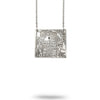 Custom Map Square Necklace in Silver