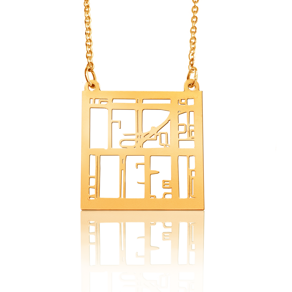 Custom Square Pendant Cut Out Map in Gold Filled
