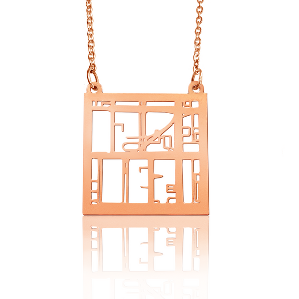 Custom Square Pendant Cut Out Map in Rose Gold Filled