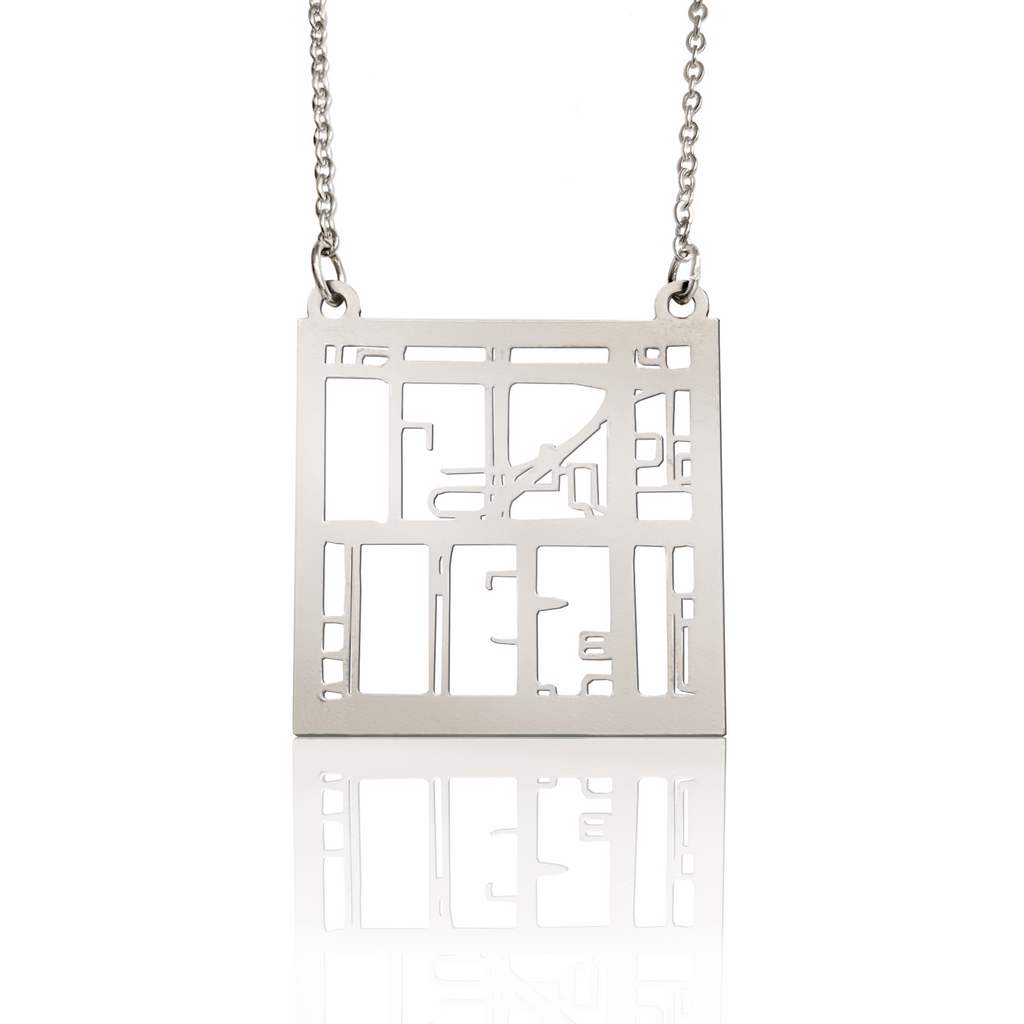 Custom Square Pendant Cut Out Map in Silver