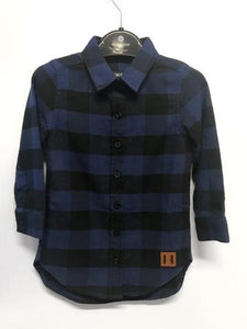 Oversized Blue & Black Buffalo Button Up