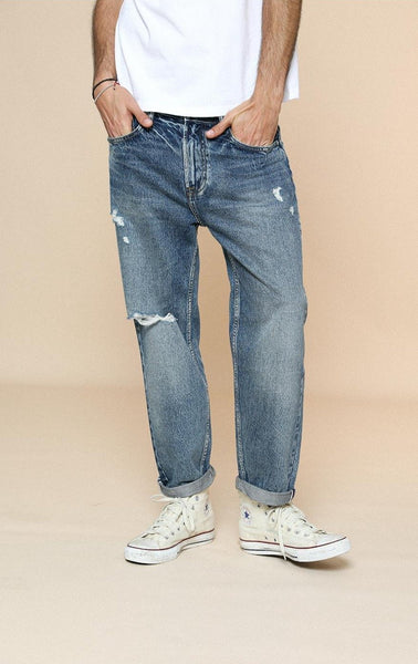 Ankle-Length Ripped Jeans chrynne.com Men's Pants 65.99