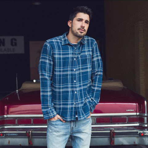 Casual Blue Plaid chrynne.com Men's Shirts 53.99