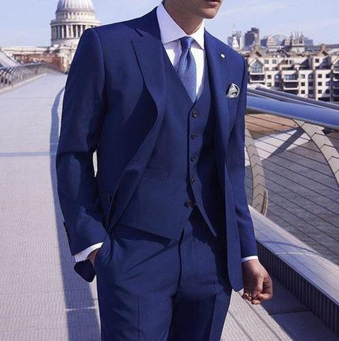 Royal Blue 3-Piece Wedding Suit chrynne.com Men's Suits 105.99