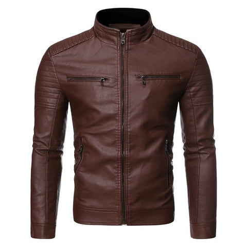 PU Leather  Zipper Jacket