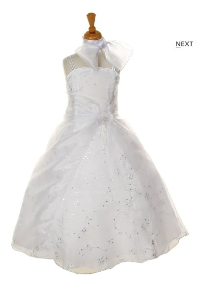 Organza Flowergirl Dress with Sequins - White