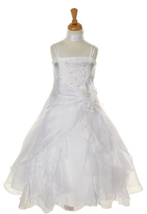 Organza Side Gather Flowergirl Dress - White