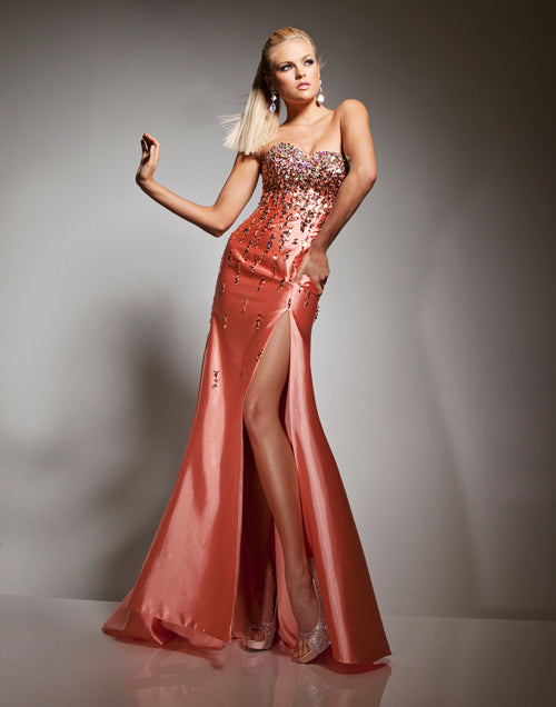 Tony Bowls Beaded Fit & Flare Gown 113551 Orange