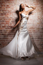 Load image into Gallery viewer, Tony Bowls Paria Elegant Satin Gown 113704 Ivory/Gold