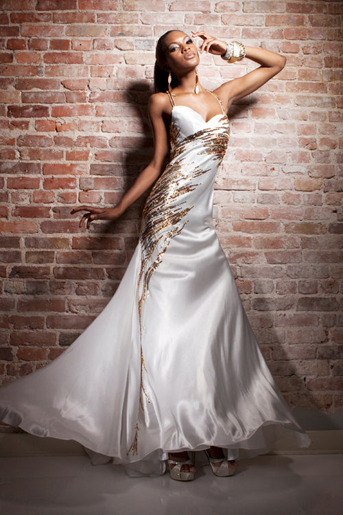 Tony Bowls Paria Elegant Satin Gown 113704 Ivory/Gold