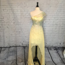 Load image into Gallery viewer, Tony Bowls Rhinestone High Low Chiffon Gown 114502 Yellow
