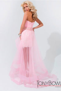 Tony Bowls Pink High Low Strapless Gown 114527