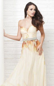 Tony Bowls Printed Floral Chiffon Gown 115537 Yellow/Multi