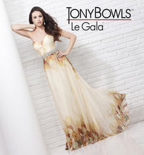 Load image into Gallery viewer, Tony Bowls Printed Floral Chiffon Gown 115537 Yellow/Multi