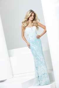 Le Gala Lace Prom Evening Gown 115564 Aqua/Ivory