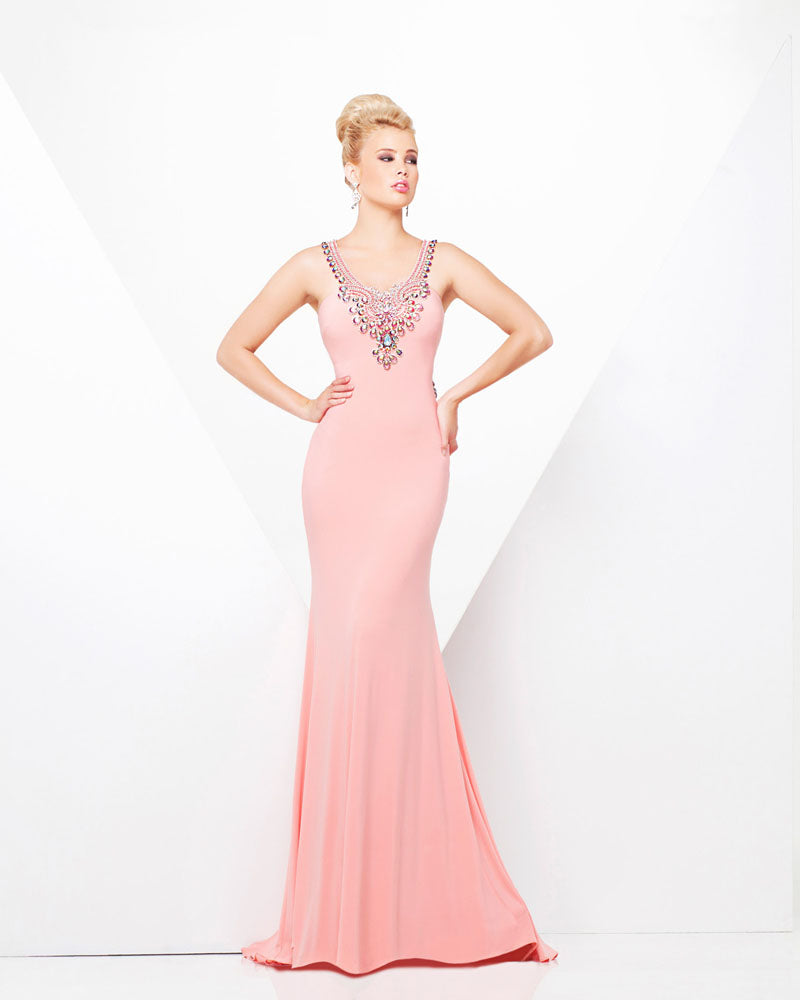 Tony Bowls Paris Jersey Backless Dress 115709 Coral