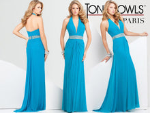 Load image into Gallery viewer, Tony Bowls Paris Jersey Halter Gown 115711 Teal