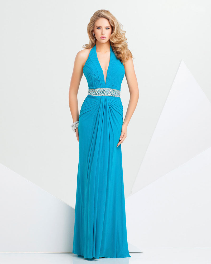 Tony Bowls Paris Jersey Halter Gown 115711 Teal