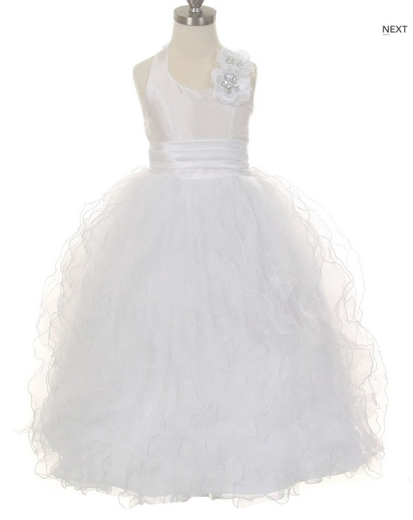 Ruffle Skirt Flowergirl Dress - White