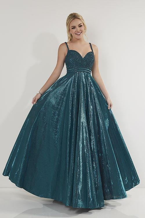 Studio 17 Metallic A-Line Gown 12717 Teal