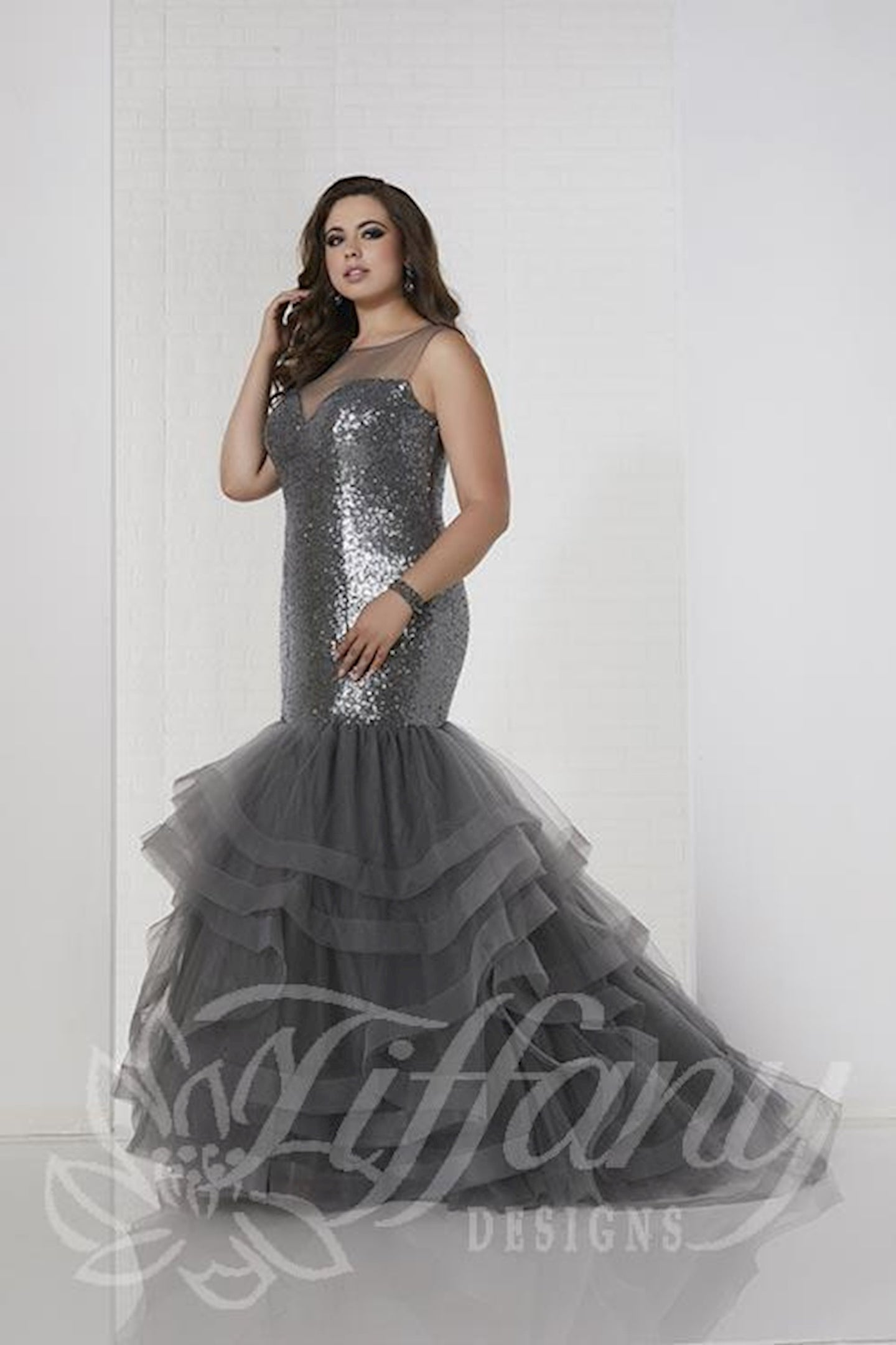 Tiffany Designs Sequin Mermaid Dress 16320 Charcoal