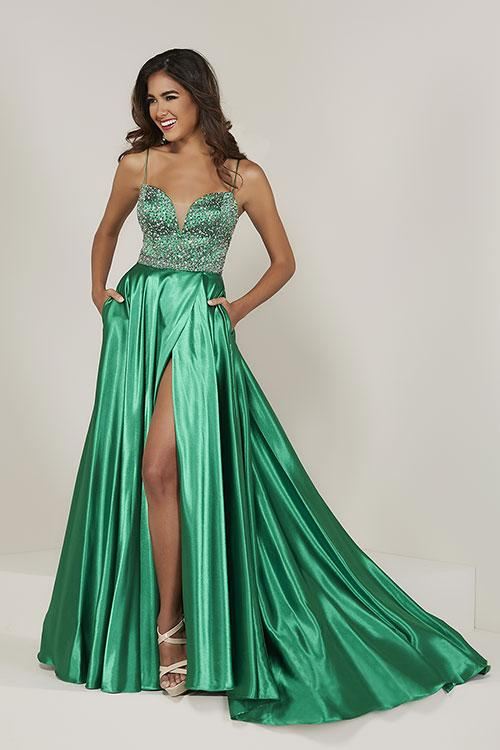 Tiffany Designs Satin Beaded Gown with Slit 16341 Emerald