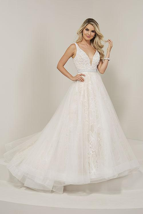 Tiffany Designs V Neck Lace Ballgown 16360 Ivory/Nude