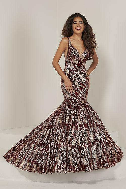 Tiffany Designs Zebra Sequin Mermaid Dress 16361 Wine/Gold