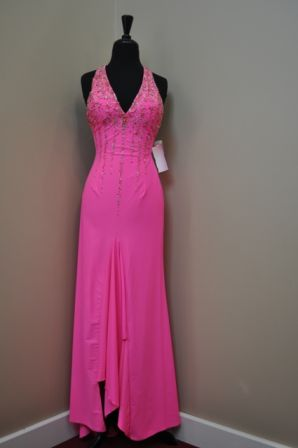 Le Gala Jersey Halter Dress 17554 Hot Pink