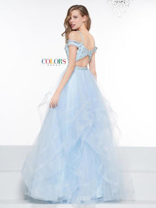 Colors Dress Boho Off Shoulder Grad Gown 2069 Light Blue
