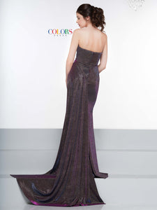 Colors Dress Glitter Stretch Gown with Train 2076 Fuchsia/Multi