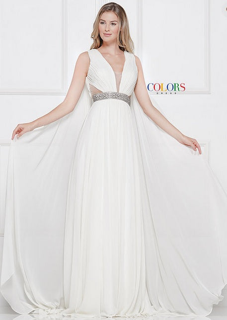 Colors Dress Flowly Chiffon Cape Gown 2083 Off White