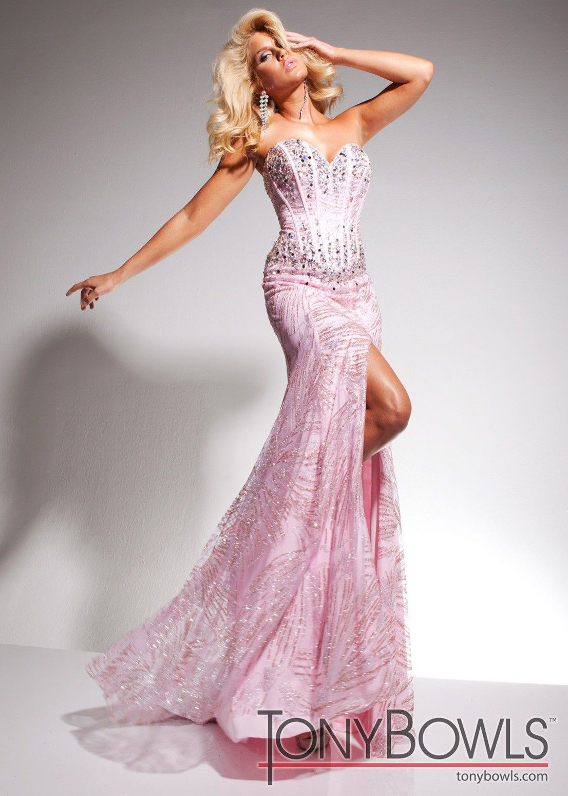 Tony B Pink Sequin Corset Gown TB2351325