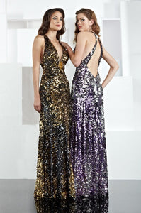 Xcite Sequin Halter Prom Dress 30134 Black/Gold