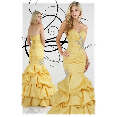 Xcite Mermaid Taffeta Prom Dress 30185 Yellow