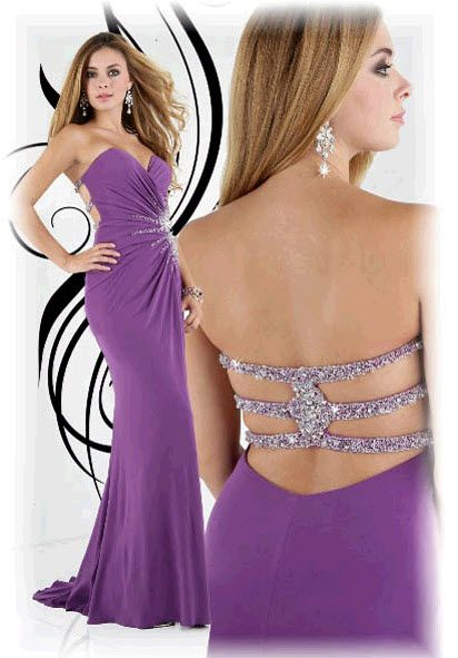 Xcite Jersey Backless Gown 30208 Fuchsia
