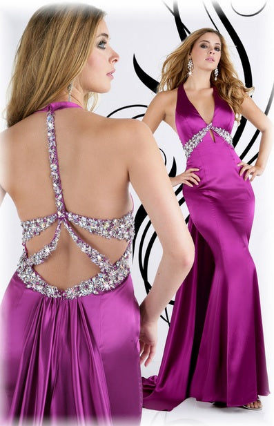 Xcite Satin Backless Prom Grad Dress 30210 Hot Pink