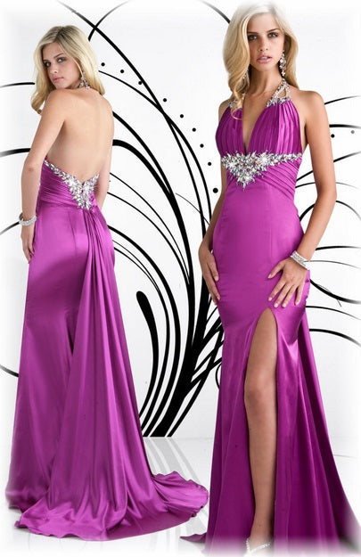 Xcite Satin Backless Gown 30262 Flamingo
