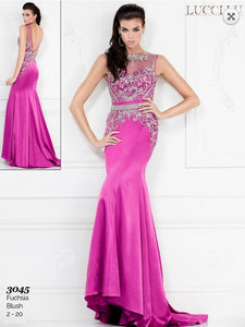 Lucci Lu Rhinestone Fitted Low Back Dress 3045 Fuchsia