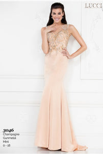 Lucci Lu Fit & Flare Beaded Gown 3046 Mint