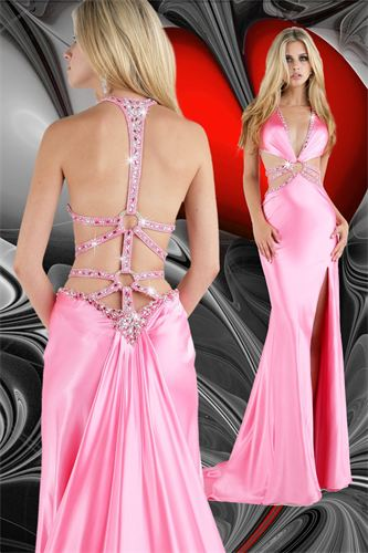 Xcite Prom Backless Satin Gown 32219 Aqua