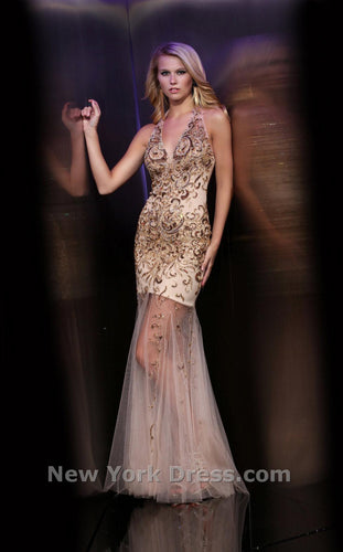 Xcite Sheer Beaded Dress 32305 Nude