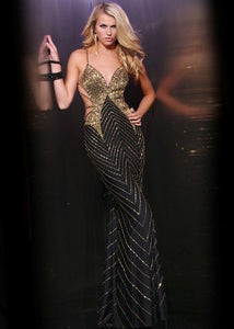 Xtreme Sexy Studded Mermaid Dress 32374 Black/Gold