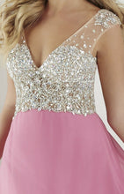 Load image into Gallery viewer, Tiffany Designs Chiffon Beaded Prom Dress 16190 Pastel Orchid/Nude