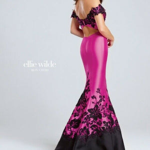 Ellie Wilde Grad Prom Dress EW117037 Hot Pink/Black