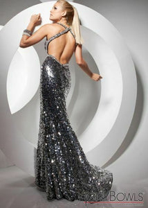 Tony Bowls Paris Sequin Halter Prom Dress 113739 Black